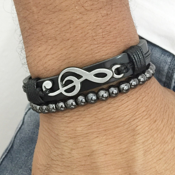 Kit Bracelete Masculino Pulseiras Musico Dj Clave Do Sol
