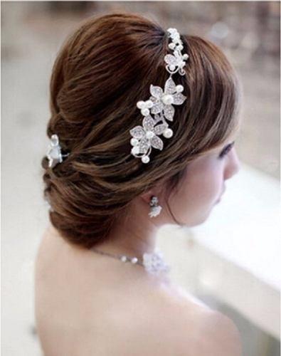 1 Tiara Enfeite Cabelo Noiva Dama Prata Strass Perola