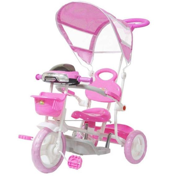 Carrinho Passeio Triciclo Infantil Com Empurrador - Rosa