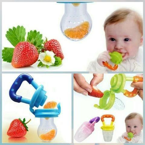 Kit 3 Alimentadora Bico Silicone Mordedo Bebê Frutas Chupeta