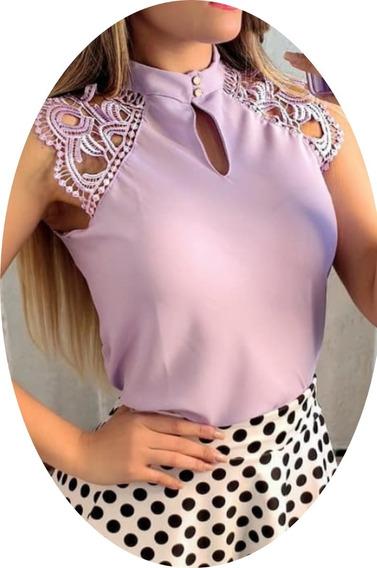 Camisa Blusa Feminina Regata Renda Social Moda Evangélica