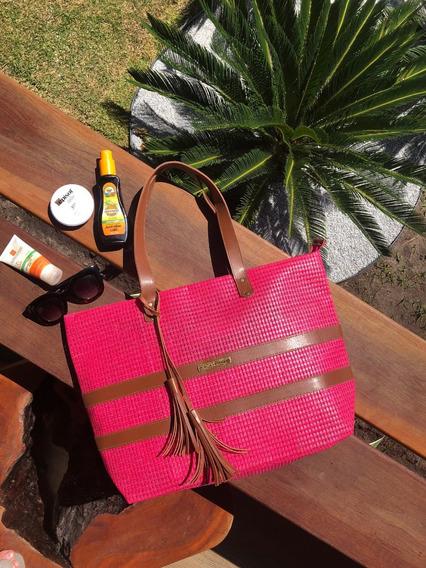 Bolsa De Praia Em Tela Pink Barca Patrícia Henriques