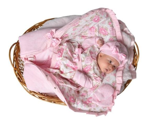 Kit Saída Maternidade Menina Rosa Floral Com Saco De Dormir