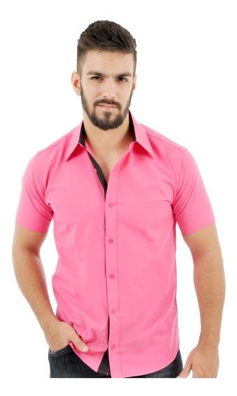 Camisa Social Slim Fit Masculina Manga Curta Cores Promoção