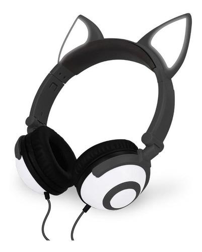 Headfone Fone Ouvido Gatinho C/ Pisca Led - Hf-c30 - Preto