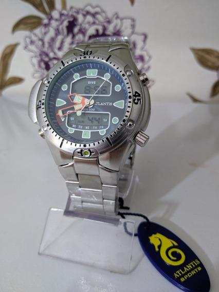 Relógio Masculino Atlantis Digital E Analógico Prata