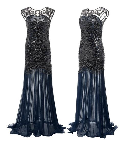 Vestido De Fiesta Largo Importado De Lentejuelas Azul Negro