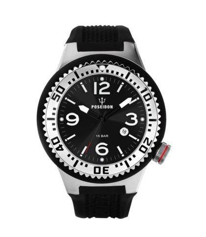 Relógio Mod. Poseidon, Alemão Preto Up00398 Alta Qualidade!