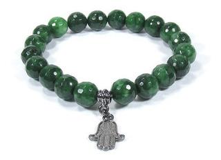Pulseira Japamala Jade Verde Mão De Fátima Banho Ródio Negro