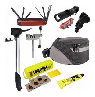 Kit Bike Bolsa + Farol + Bomba + Ferramentas + Extrator Mtb