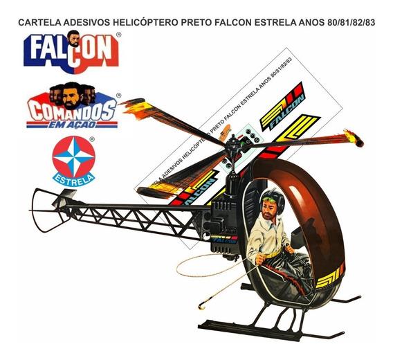 Adesivo Completo Cortado Helicóptero Preto Falcon - Estrela