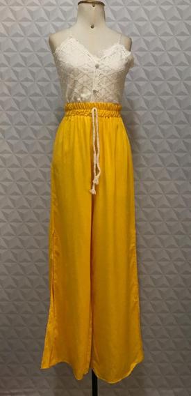 Calça Pantalona Aberta Na Lateral Viscose Elástico Cintura