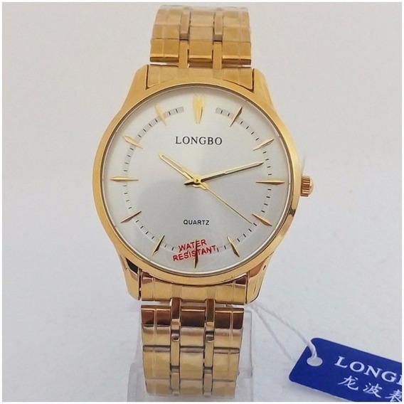 Relógio Masculino Longbo Slim Original Dourado Social Vip