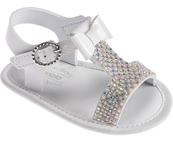 Sandália De Luxo Branca Bebê Menina - Pimpolho
