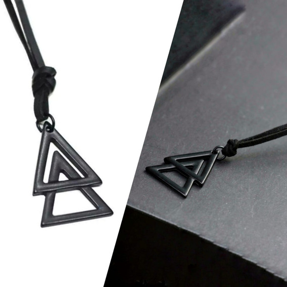 Colar Masculino Triangulo Duplo Preto Regulável Ajustável