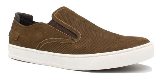 Sapatênis Zariff Shoes Slip On Em Couro Marrom Pl22030