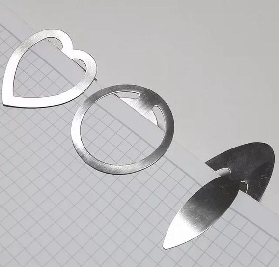 Marcador De Páginas Para Livros Em Aço Inox - Kit Com 3 Pçs