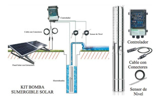 Kit Panel Solar + Electrobomba Sumergible + Sensor 36v 300w