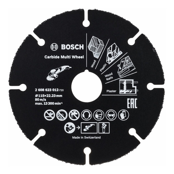 Disco Amoladora Para Corte Madera Y Plástico Bosch 115 Mm