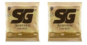 Kit Com 2 Encordoamentos Violão Aço / Folk - 010 - Sg
