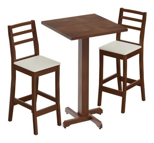 Mesa Alta Para Bar Com 03 Banquetas Estofadas Na Cor Pinhão