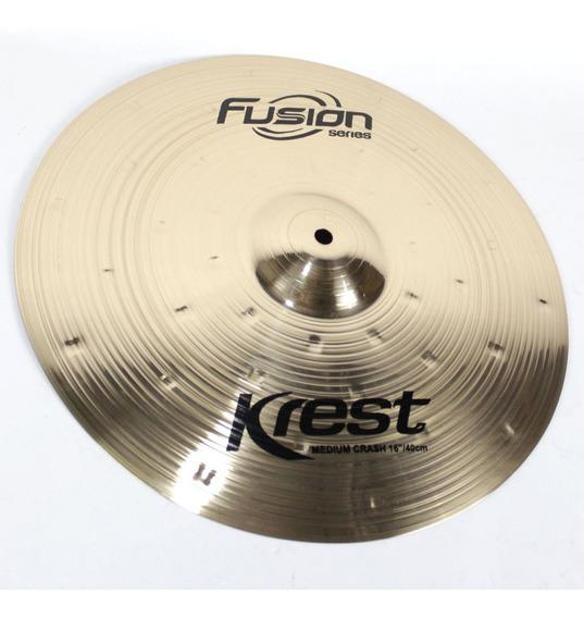Prato Medium Crash 16 Ataque Fusion Krest Cymbals Bronze B8