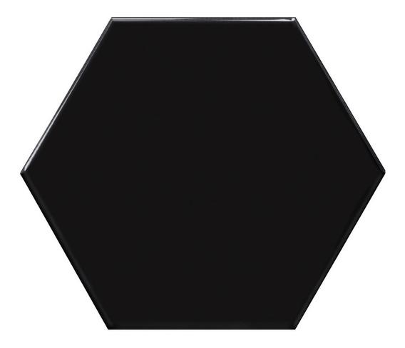 Hexagono Negro Mate Porcelanato Acuarela 17,5x20 Piso-pared