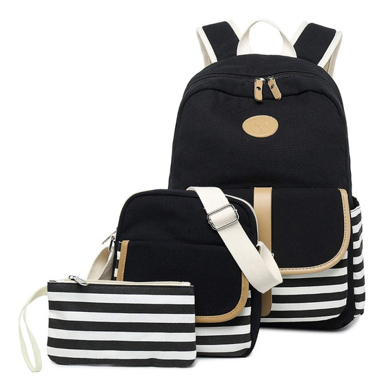 Mochila Juvenil Negra Kit 3 En 1 Escolar Moderna Niña Bonita