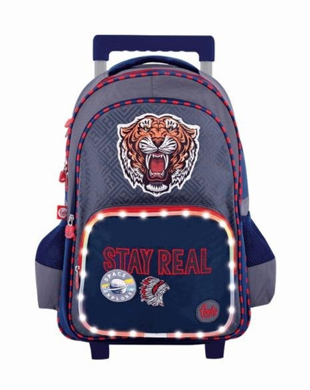 Mochila Footy Con Carro 18 Pulgada Stay Real Gris Led (f911)
