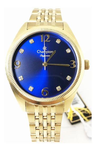 Relógio Feminino Dourado Champion Elegance Cn26251k