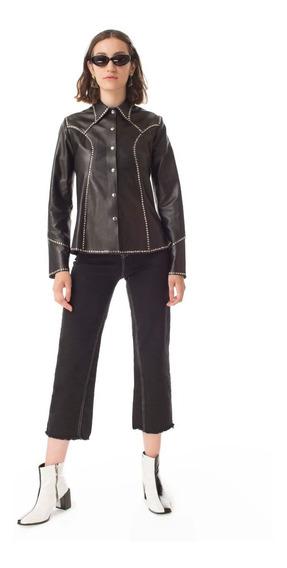 Camisa Madelaine Con Tachas Negra Las Pepas