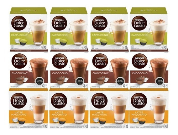 Dolce Gusto Capsulas Lacteados Y Chocolate Pack X12 Cajas
