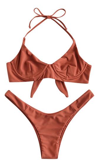 Zaful- Conjunto De Bikini Con Aros Y Lazo Halter- S