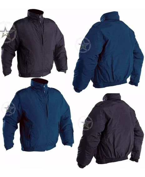 Chamarra Táctica Corta Color Negra Y Azul Policia