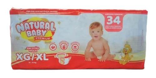 Imagem 1 de 1 de Natural Baby Premium Fralda Mega Xg C/34