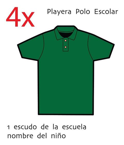 Playera Tipo Polo - Escolar 4 Piezas