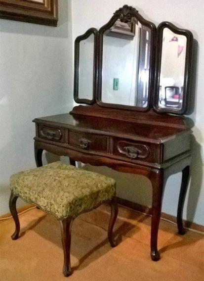 Penteadeira Luis Xv Imbuia Espelhos Bisotados Com Banqueta