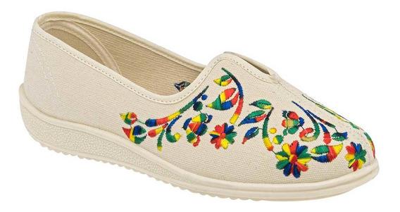 Zapato Casual De Mujer Beige Multicolor 095-195