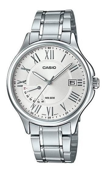 Relogio Casio Mtp-e116d-1/7 Aço Numeros Romanos Clássico Calendario Wr50m Original Pronta Entrega Nf Mtpe116
