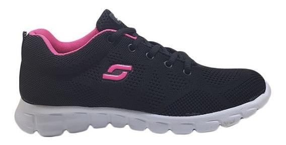 Zapatillas Soft Mujer Deportivas Tejida Negro-fucsia Nº36/41