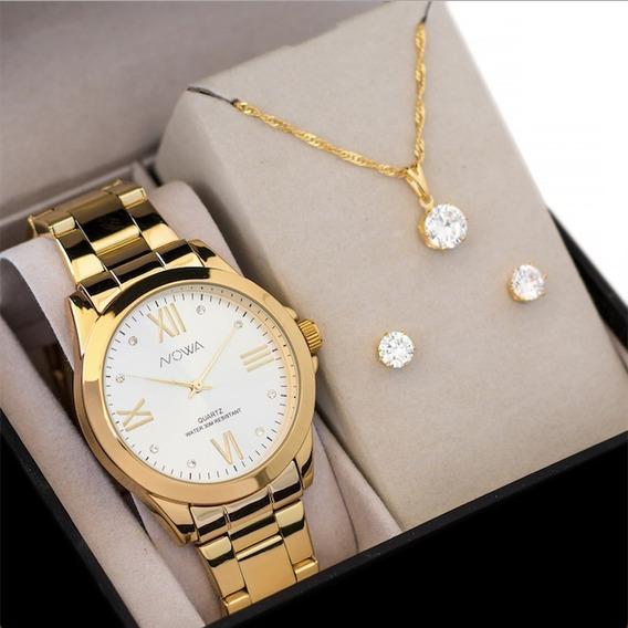 Relógio Nowa Dourado Feminino Original Nw1024k Kit Brinde
