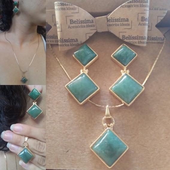 Brincos E Colar Pedra Natural Quartzo Verde Semijoia De Luxo