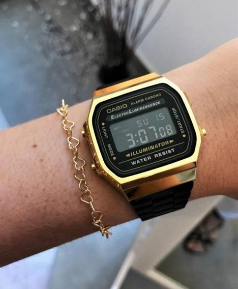 Relógio De Pulso Cassio Dourado C/ Preto Unisex Retro Verão