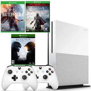 Xbox One Slim 1tb 2 Controles, Halo 5, Battlefield, Assasins