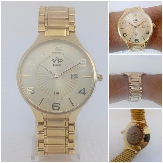 Relógio Masculino Vip Quartz Mh 295 Dourado Ouro 18k Slim Original
