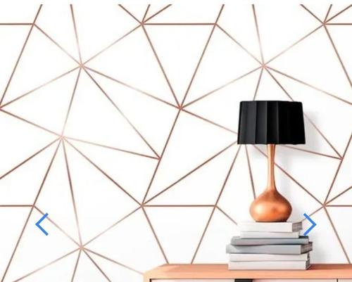 Kit 9 Rolos Papel De Parede Zara Branco Com Rosê Gold 350