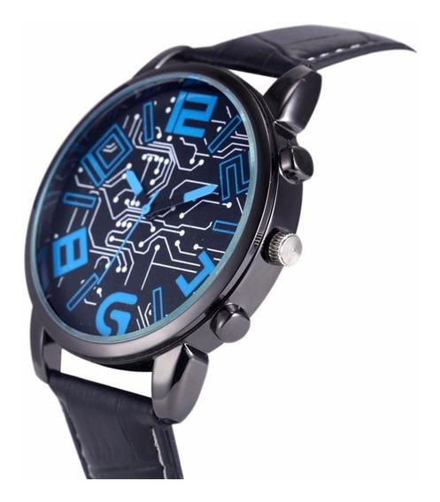 Relógio Homens Moderno Geek Pulseira De Couro Barato Bonito