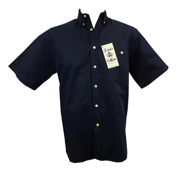 Camisa Azul Marino Casual Manga Corta Hombre Oferta