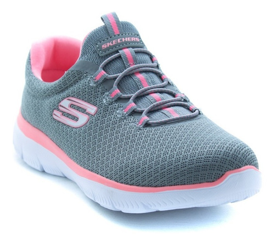Tenis Skechers Sports Summits 12980 Gris Rosa Memory Foam