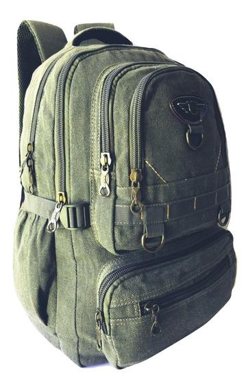 Mochila Bolsa Cabe Notebook Livros Cor Militar Style Moda